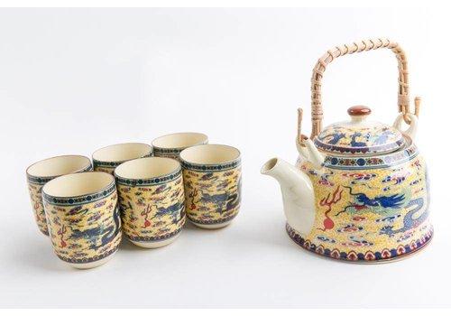 Fine Asianliving Chinese Tea set Porcelain Dragon