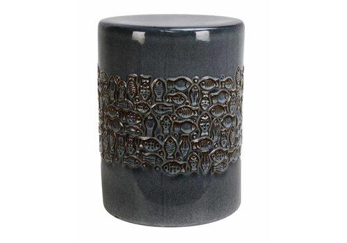 Fine Asianliving Keramik Hocker Gartenhocker Porzellan Asiatischer Stil Grau FIsche