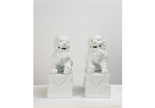 Fine Asianliving Foo Dogs Wit Porselein Set/2