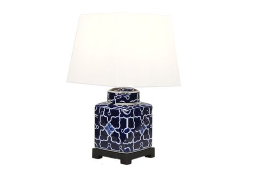 Fine Asianliving Chinese Tafellamp Porselein Navy Wit