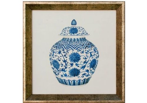 Fine Asianliving Chinese Painting Blue Pot White Lijst