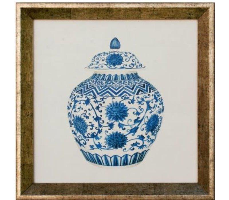Chinese Schilderij Blauw Pot Met Lijst