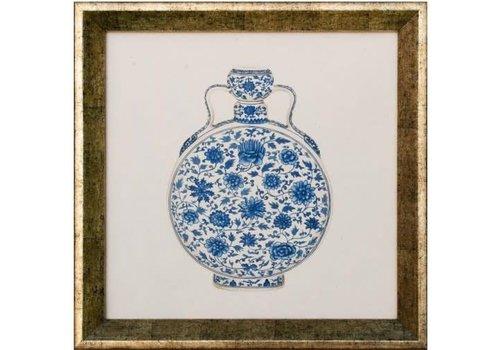 Fine Asianliving Chinees Schilderij met Lijst Chinese Vaas Porselein Blauw Wit B35xD3xH35cm