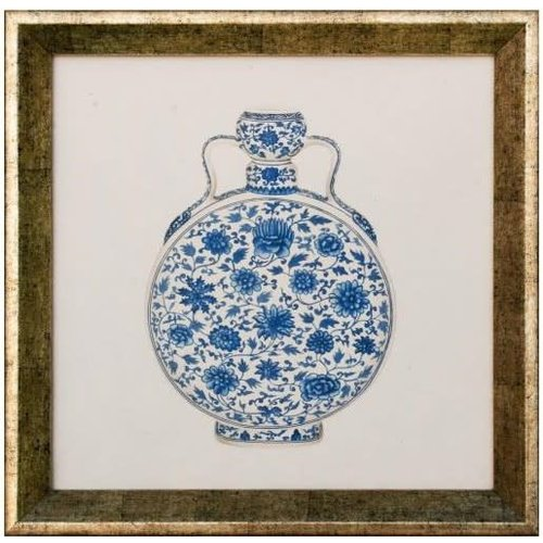 Chinese Painting Blue Pot White Frame