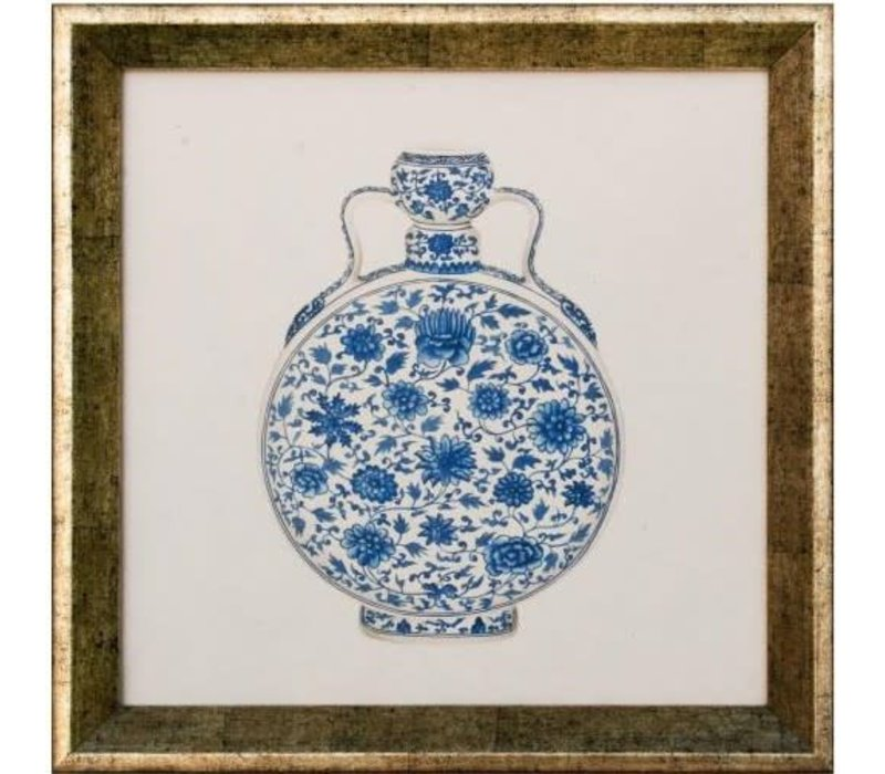 Chinese Schilderij Blauwe Pot Met Lijst