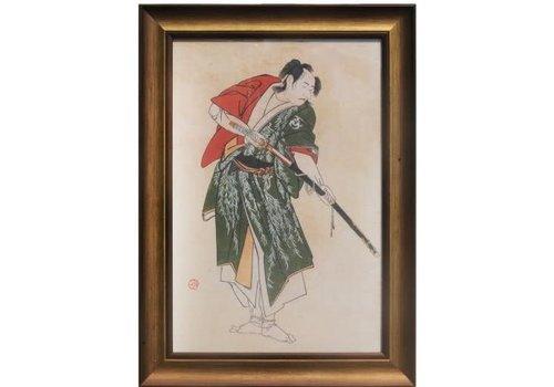 Fine Asianliving Japans Schilderij met Lijst Krijger met Katana zwaard B36.5xD3xH58cm