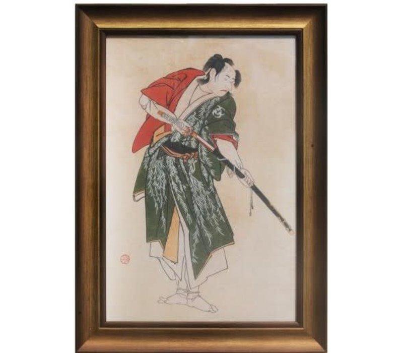 Japans Schilderij met Lijst Krijger met Katana zwaard B36.5xD3xH58cm