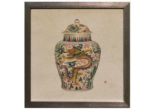 Fine Asianliving Tableau sur Toile Décoration Murale Chinois Encadré chinois Vase en Porcelaine de Dragon L35xP3xH35cm