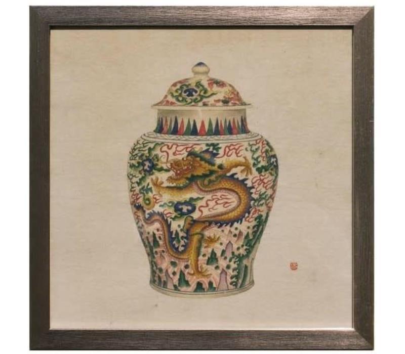 Chinees Schilderij met Lijst Chinees Porselein Vaas Draak B35xD3xH35cm