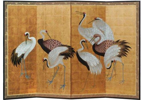 Fine Asianliving Kamerscherm Kraanvogels