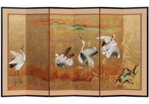 Fine Asianliving Fine Asianliving Chinese Kamerscherm 6 goud Kraanvogels