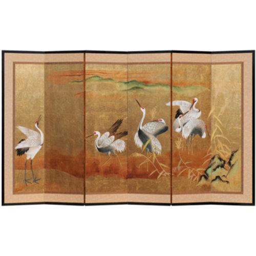 Fine Asianliving Chinese Kamerscherm 6 goud Kraanvogels
