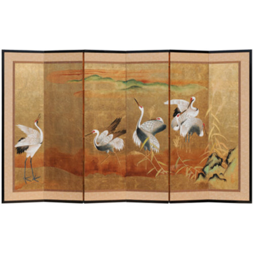 Fine Asianliving Chinese Room Divider 6 gold crane