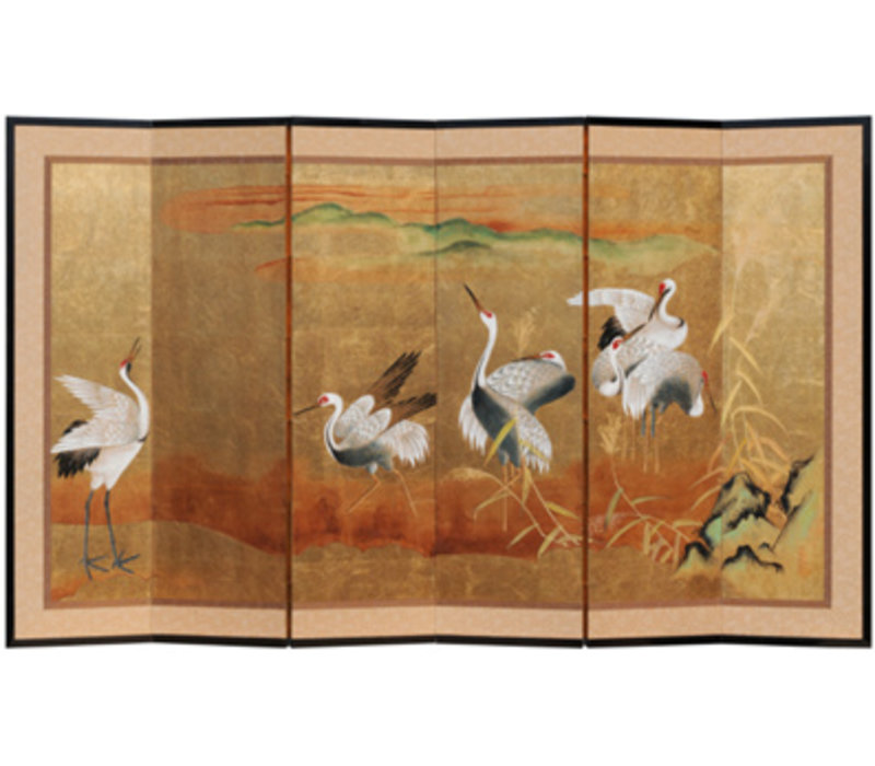 Chinese Kamerscherm 6 goud Kraanvogels