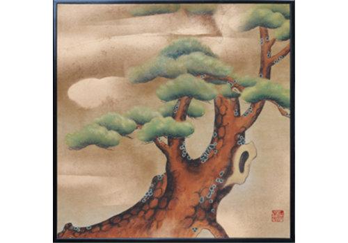 Fine Asianliving Fine Asianliving Schilderij Bladgoud Handgeschilderde Japanse Bonzai Boom
