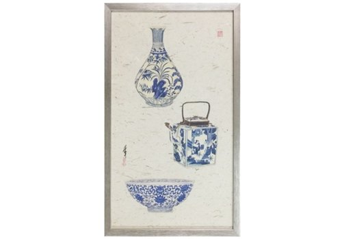 Fine Asianliving Chinese Painting 3 Blue Vases