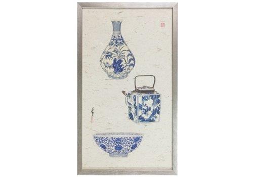 Fine Asianliving Chinese Schilderij 3 Blauwe Vazen