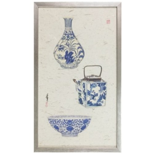 Chinese Painting 3 Blue Vases