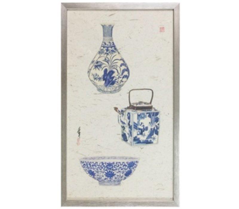 Chinese Schilderij 3 Blauwe Vazen