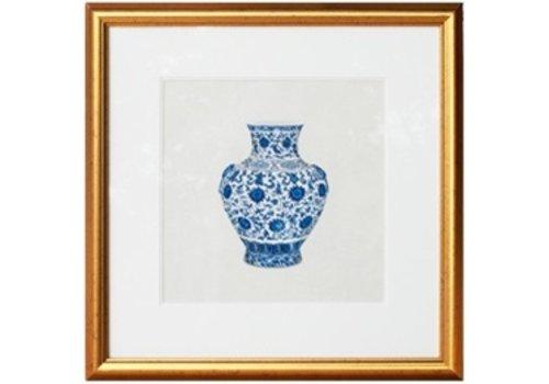 Fine Asianliving Chinees Schilderij met Lijst Chinees Porselein Vaas blauw Wit B50xD2xH50cm