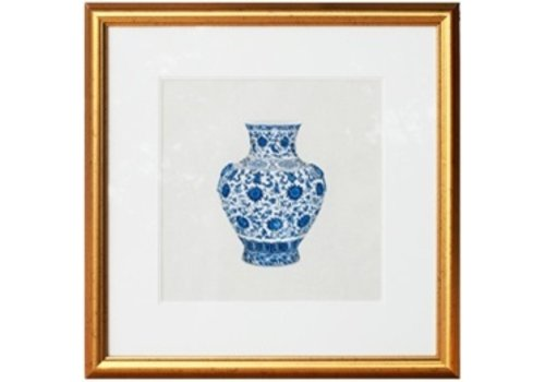 Fine Asianliving Chinese Painting with Frame Chinese Porcelain Vase Blue White W50xD2xH50cm