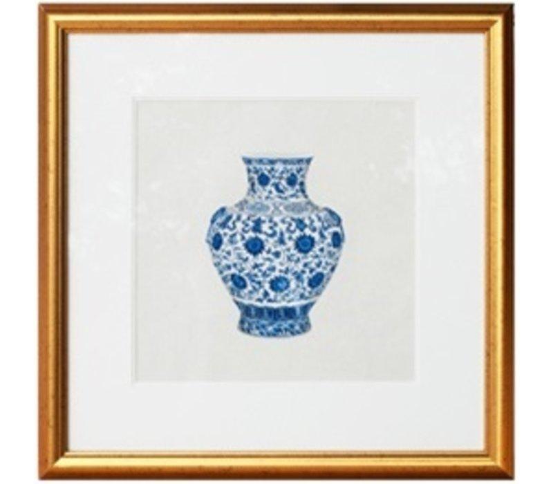 Chinees Schilderij met Lijst Chinees Porselein Vaas blauw Wit B50xD2xH50cm