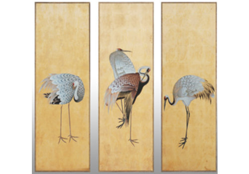 Fine Asianliving Handmade 3 Common Cranes Painting of Gold Leaf