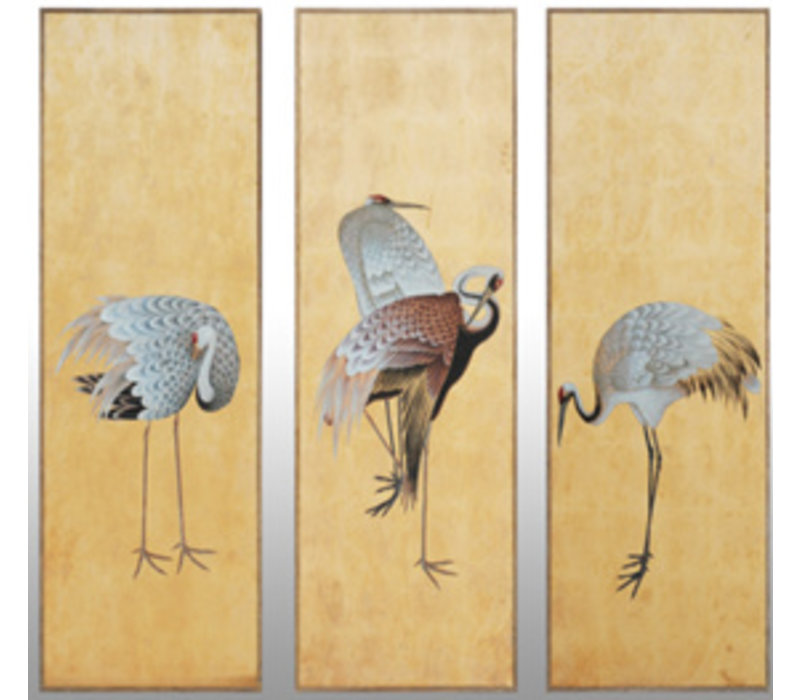 Handmade 3 Common Cranes Painting of Gold Leaf