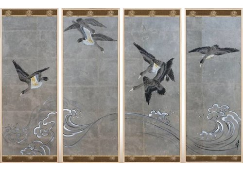Fine Asianliving Painting Birds Grey Background