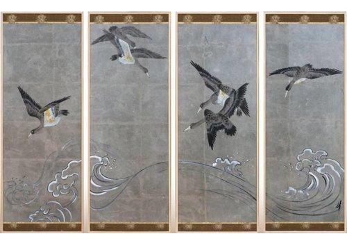 Fine Asianliving Schilderij Vogels Grijze Achtergrond