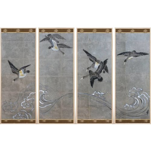 Painting Birds Gray Background