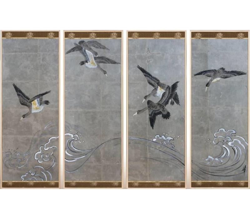 Chinees Schilderij Vogels Zilverblad Set/4 B200xD4xH140mm