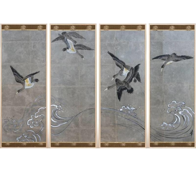 Chinese Painting Birds Silver Leaf Set/4 W200xD4xH140mm