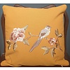 Fine Asianliving Fine Asianliving Cushion White handembroidered rose and bird yellow 45x45cm