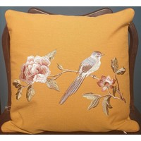 Cushion with Hand-embroidered Rose and Bird Yellow 50x50cm