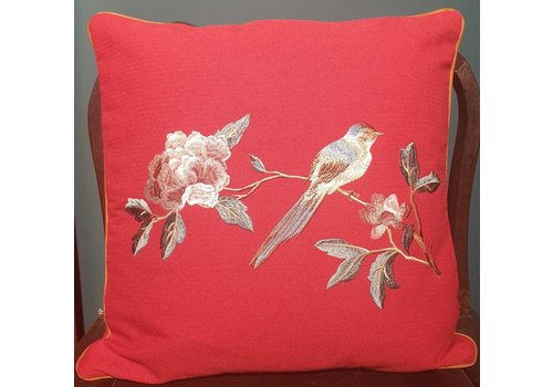 Fine Asianliving Fine Asianliving Cushion White handembroidered rose and bird Red 45x45cm