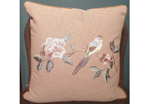 Fine Asianliving Fine Asianliving Cushion White handembroidered rose and bird grey 45x45cm