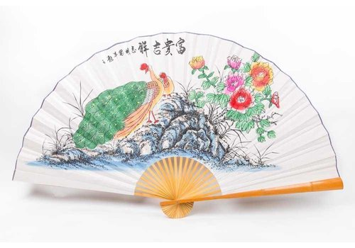 Fine Asianliving Chinese fan Wall Decoration Peacock Large