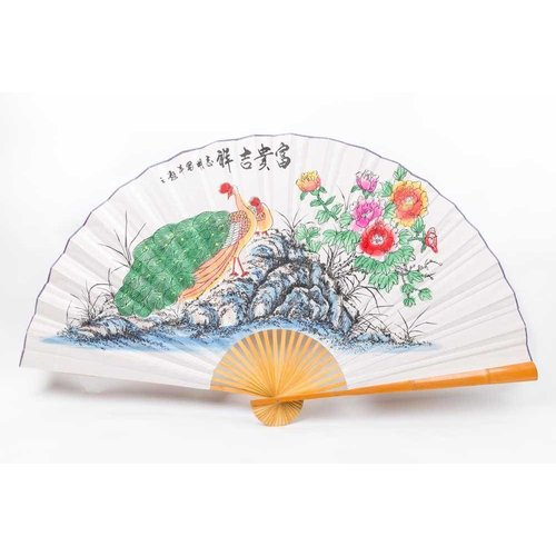 Chinese fan Wall Decoration Peacock Large
