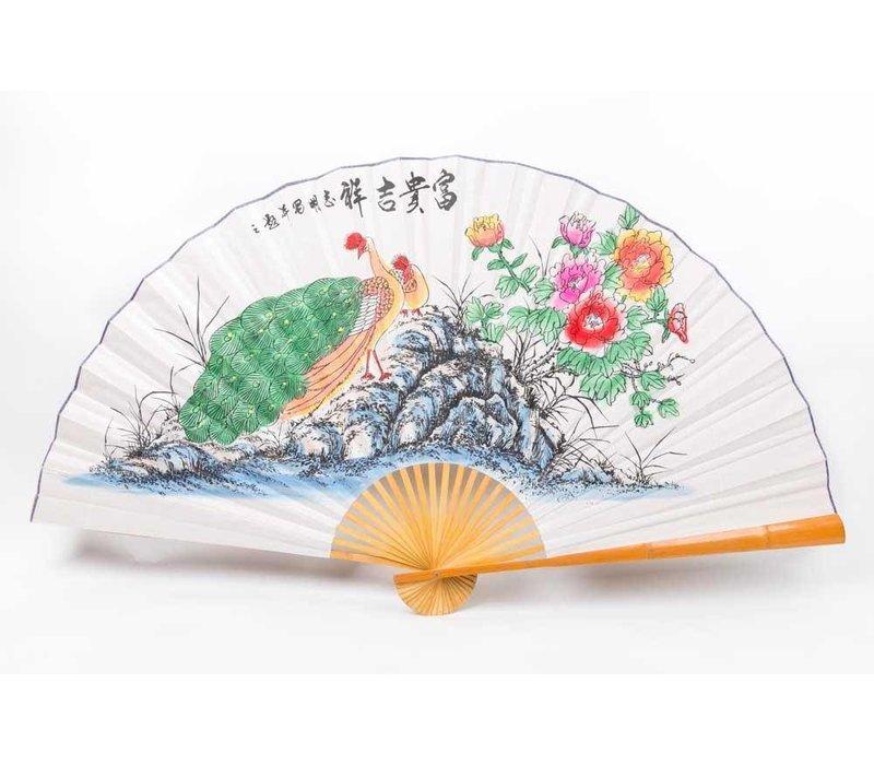 Chinese Waaier Wanddecoratie Pauw Groot
