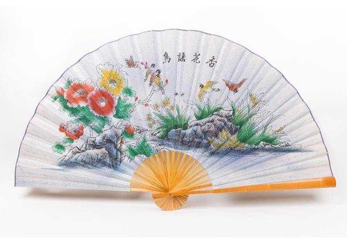 Fine Asianliving Chinese Waaier Wanddecoratie Vogels Bloemen Groot