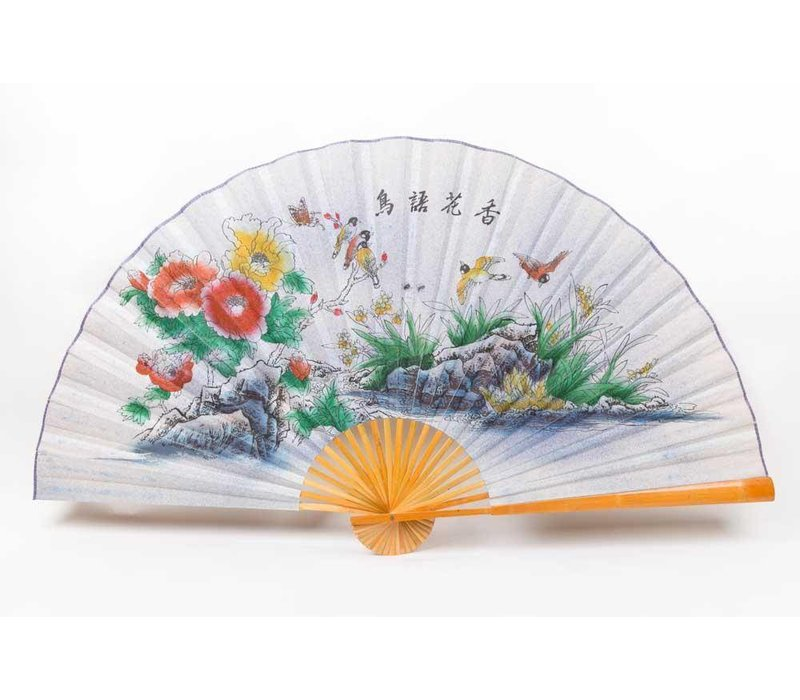 Chinese fan wall decoration birds flowers Large