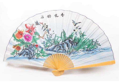 Fine Asianliving Chinese fan wall decoration birds large