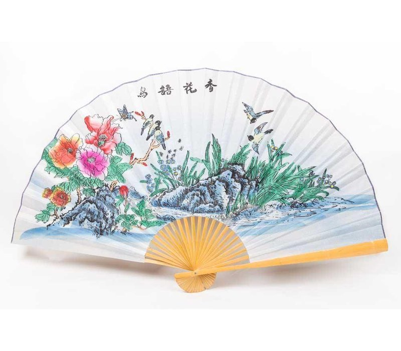 Chinese fan wall decoration birds large