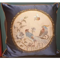 Fine Asianliving Chinese Cushion Silk 50x50cm Hand-embroidered Birds Navy