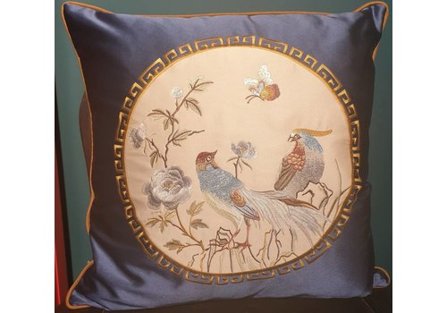 Fine Asianliving Fine Asianliving Chinese Cushion Silk 50x50cm Hand-embroidered Birds Navy