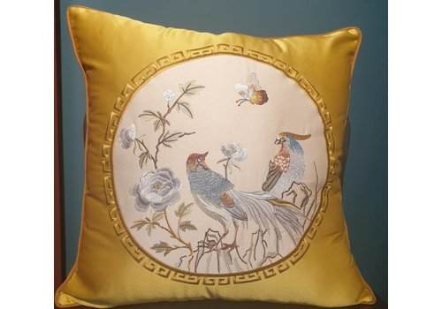 Fine Asianliving Fine Asianliving Chinese Cushion Silk 50x50cm Hand-embroidered Birds Yellow