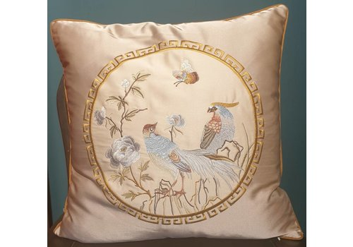 Fine Asianliving Fine Asianliving Chinese Cushion Silk 50x50cm Hand-embroidered Birds Cream