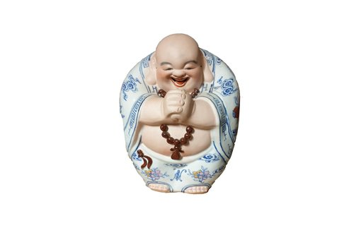 Fine Asianliving Chinese Buddha Laughing Lucky Porcelain Statue Figure Ceramics Hand-painted