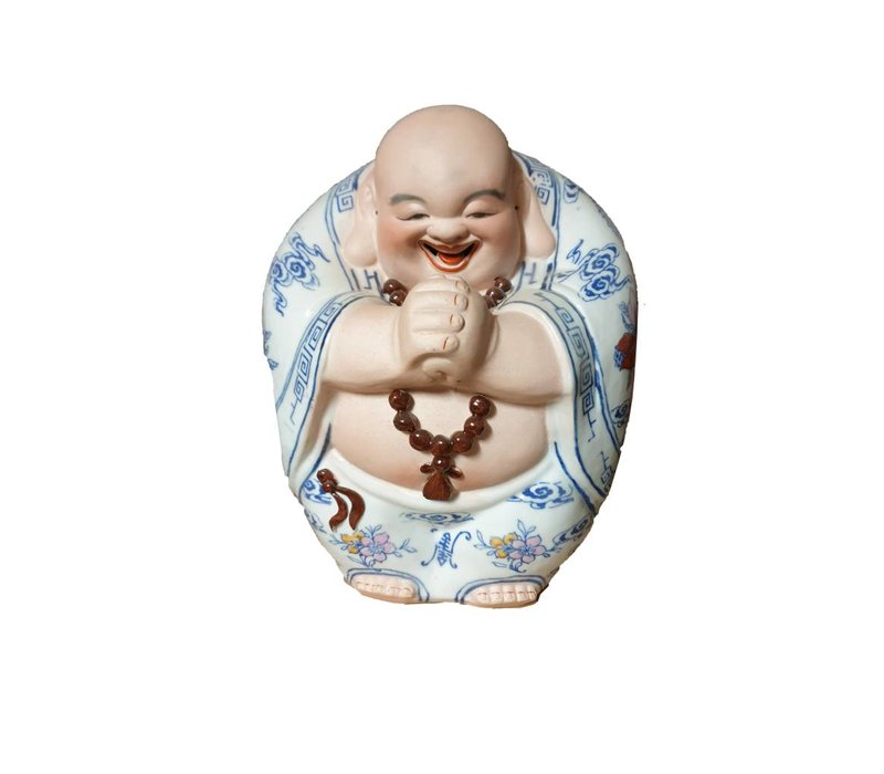 Chinese Buddha Laughing Lucky Porcelain Statue Figure Ceramics Hand-painted